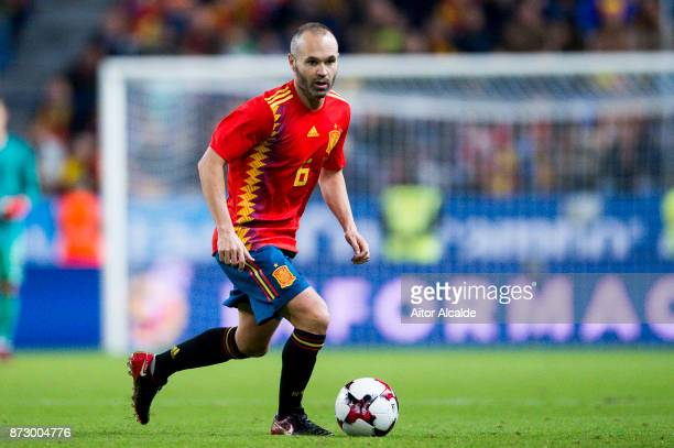 Andres Iniesta of Spain controls the ball during the international friendly match between Spain and Costa Rica at La Rosaleda Stadium on November 11...