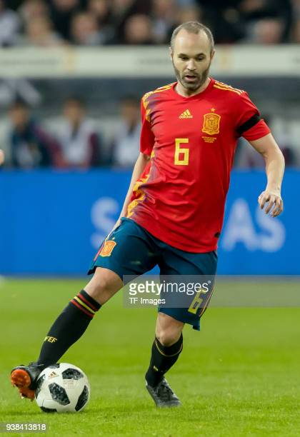 Andres Iniesta of Spain controls the ball during the international friendly match between Germany and Spain at EspritArena on March 23 2018 in...