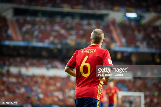 Andres Iniesta of Spain during the FIFA World Cup qualifying match between Spain and Italy at the Santiago Bernabéu Stadium on September 02 2017 in...