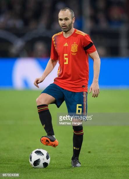 Andres Iniesta of Spain during the international friendly match between Germany and Spain at EspritArena on March 23 2018 in Duesseldorf Germany