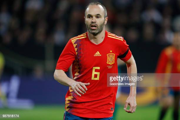 Andres Iniesta of Spain during the International Friendly match between Germany v Spain at the Esprit Arena on March 23 2018 in Dusseldorf Germany