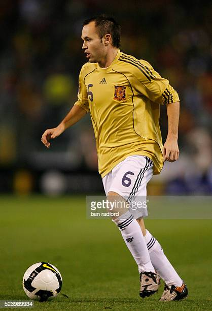 Andres Iniesta of Spain during the World Cup 2010 qualifying match between Belgium and Spain at the Stade de Baudouin in Brussels Begium
