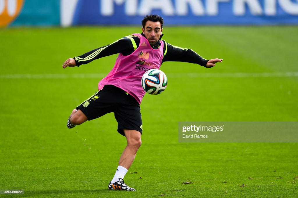Andres Iniesta of Spain in action during a Spain training session at Centro de Entrenamiento do Caju on June 21, 2014 in Curitiba, Brazil.