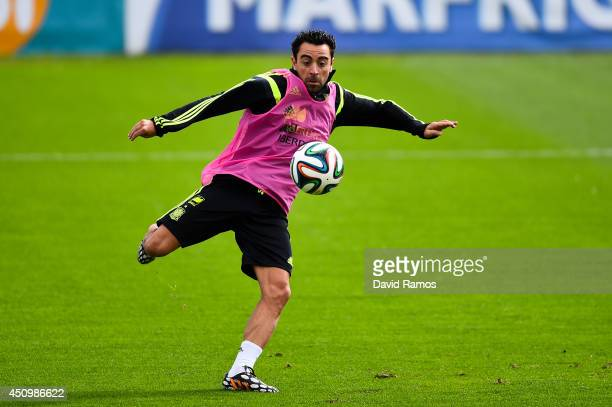 Andres Iniesta of Spain in action during a Spain training session at Centro de Entrenamiento do Caju on June 21 2014 in Curitiba Brazil