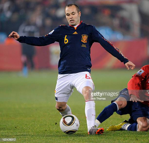 Andres Iniesta of Spain in action during the 2010 FIFA World Cup South Africa Group H match between Chile and Spain at Loftus Versfeld Stadium on...