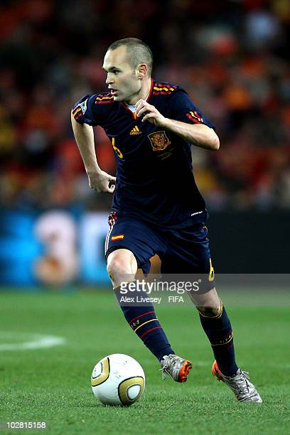 Andres Iniesta of Spain in action during the 2010 FIFA World Cup South Africa Final match between Netherlands and Spain at Soccer City Stadium on...