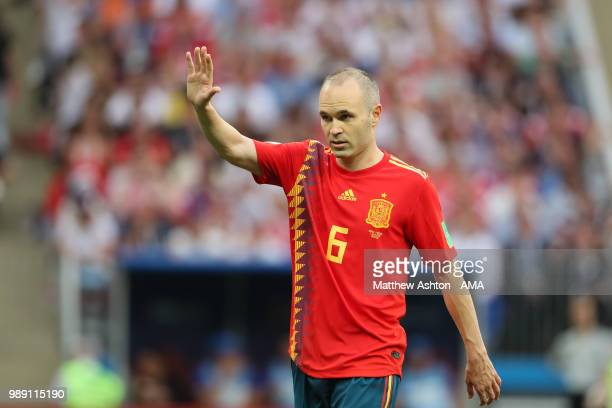 Andres Iniesta of Spain in action during the 2018 FIFA World Cup Russia Round of 16 match between Spain and Russia at Luzhniki Stadium on July 1 2018...