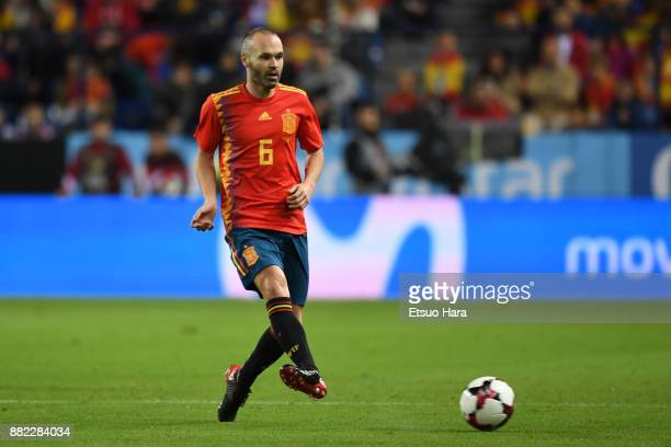 Andres Iniesta of Spain in action during the international friendly match between Spain and Costa Rica at La Rosaleda Stadium on November 11 2017 in...