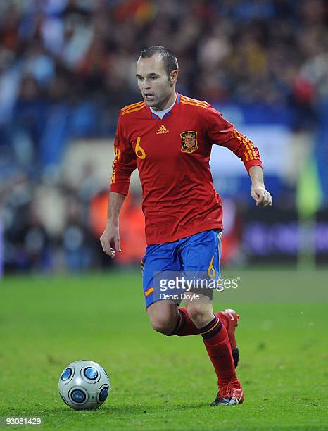 Andres Iniesta of Spain in action during the International friendly match between Argentina and Spain at the Vicente Calderon stadium on November 14...