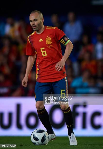 Andres Iniesta of Spain in action during the International Friendly match between Spain and Switzerland at Estadio de la Ceramica on June 3 2018 in...