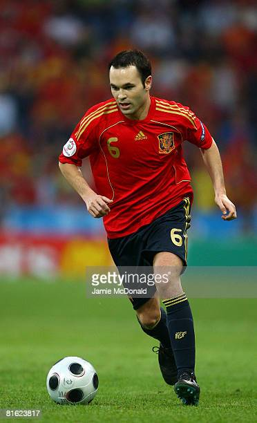 Andres Iniesta of Spain in action during the UEFA EURO 2008 Group D match between Greece and Spain at Stadion WalsSiezenheim on June 18 2008 in...