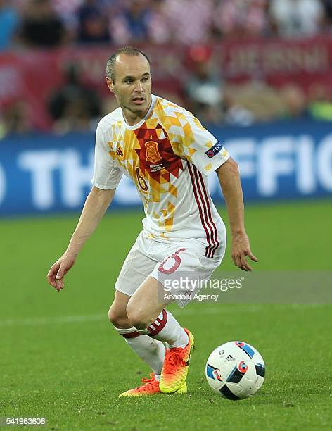 Andres Iniesta of Spain in action during the UEFA EURO 2016 Group D match between Croatia and Spain at Stade de Bordeaux in Bordeaux France on June...