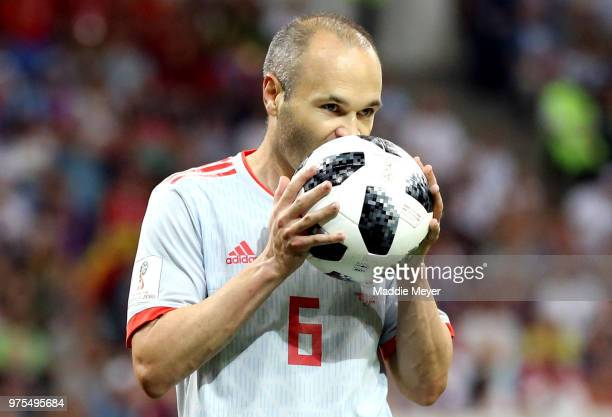Andres Iniesta of Spain kisses the ball during the 2018 FIFA World Cup Russia group B match between Portugal and Spain at Fisht Stadium on June 15...
