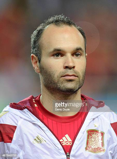 Andres Iniesta of Spain linesup prior to the start of the Spain v Ukraine EURO 2016 Qualifier at estadio Ramon Sanchez Pizjuan on March 27 2015 in...