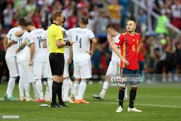 Andres Iniesta of Spain looks dejected following his sides defeat in the 2018 FIFA World Cup Russia Round of 16 match between Spain and Russia at...