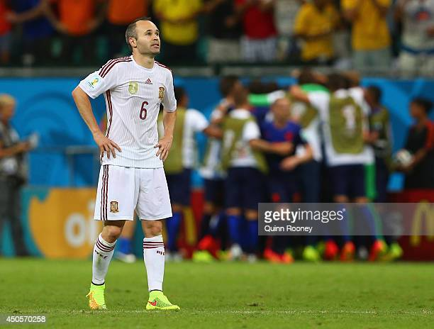 Andres Iniesta of Spain looks on after a goal by the Netherlands in the second half during the 2014 FIFA World Cup Brazil Group B match between Spain...