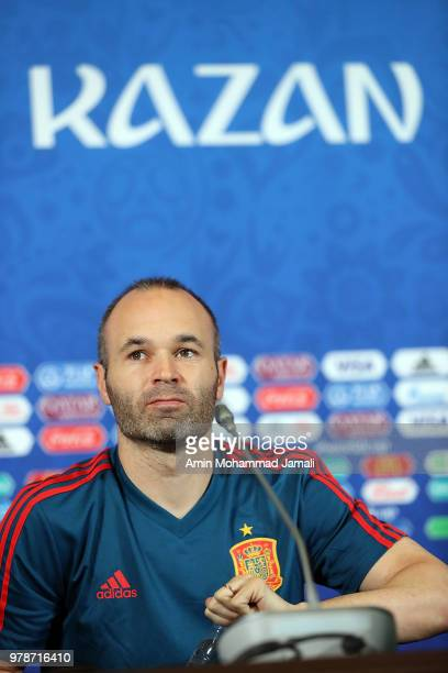 Andres Iniesta of Spain looks on during a press Conference before match 18 Between Iran Spain at Kazan Arena on June 19 2018 in Kazan Russia