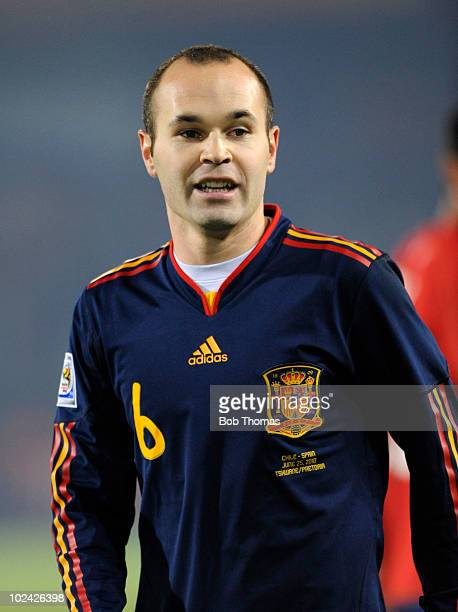 Andres Iniesta of Spain looks on during the 2010 FIFA World Cup South Africa Group H match between Chile and Spain at Loftus Versfeld Stadium on June...