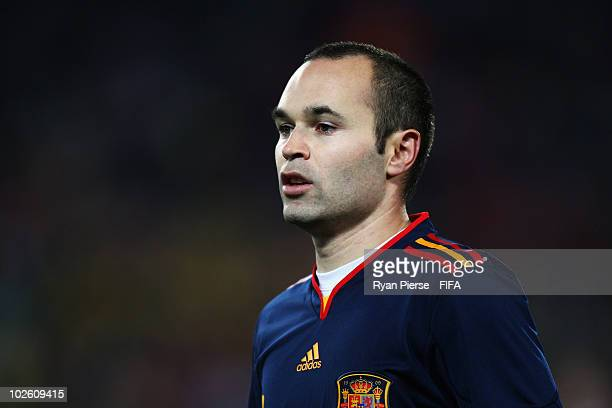 Andres Iniesta of Spain looks on during the 2010 FIFA World Cup South Africa Quarter Final match between Paraguay and Spain at Ellis Park Stadium on...