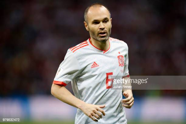 Andres Iniesta of Spain looks on during the 2018 FIFA World Cup Russia group B match between Iran and Spain at Kazan Arena on June 20 2018 in Kazan...