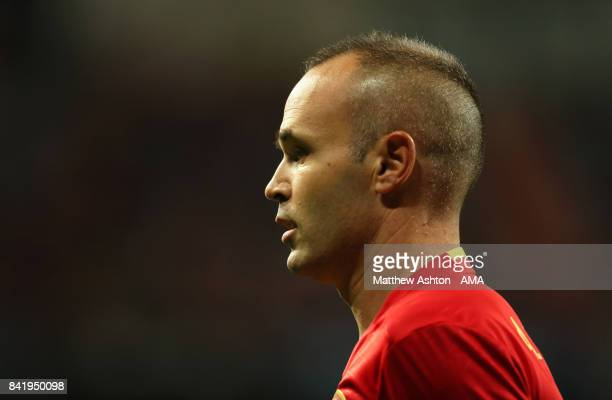 Andres Iniesta of Spain looks on during the FIFA 2018 World Cup Qualifier between Spain and Italy at Estadio Santiago Bernabeu on September 2 2017 in...
