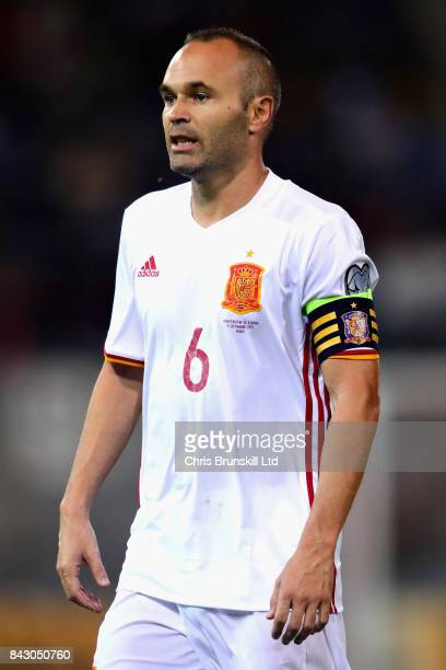 Andres Iniesta of Spain looks on during the FIFA 2018 World Cup Qualifier between Liechtenstein and Spain at Rheinpark Stadion on September 5 2017 in...