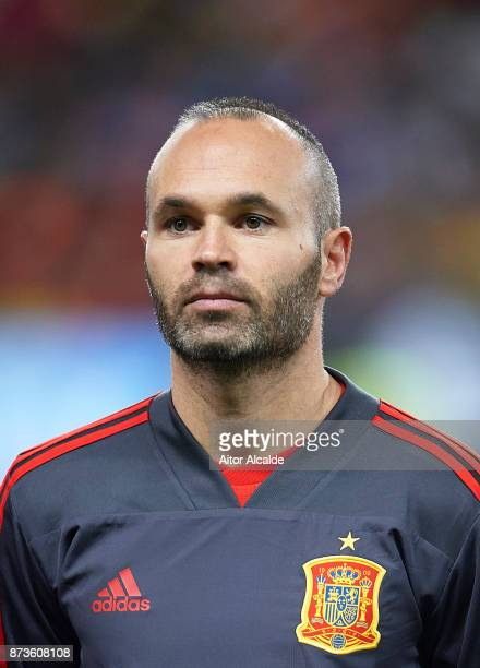 Andres Iniesta of Spain looks on during the international friendly match between Spain and Costa Rica at La Rosaleda Stadium on November 11 2017 in...