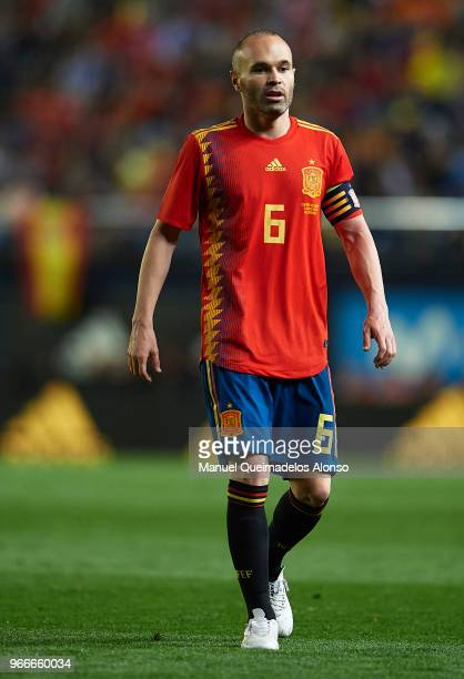 Andres Iniesta of Spain looks on during the International Friendly match between Spain and Switzerland at Estadio de La Ceramica on June 3 2018 in...