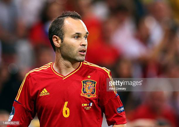 Andres Iniesta of Spain looks on during the UEFA EURO 2012 quarter final match between Spain and France at Donbass Arena on June 23 2012 in Donetsk...