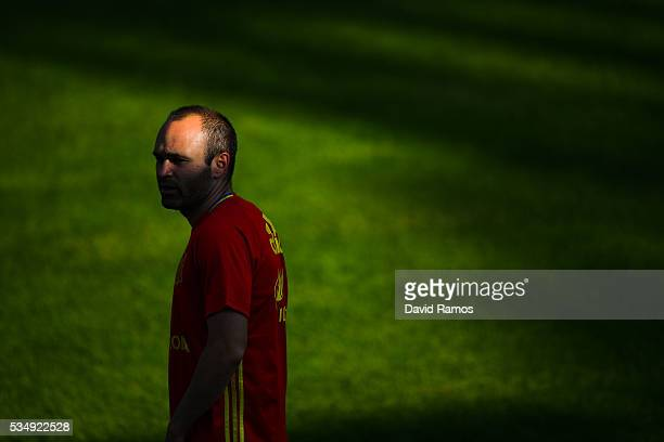 Andres Iniesta of Spain looks on during training session on May 28 2016 in Schruns Austria
