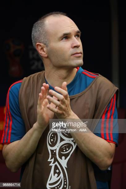 Andres Iniesta of Spain looks on from the bench prior to the 2018 FIFA World Cup Russia Round of 16 match between Spain and Russia at Luzhniki...