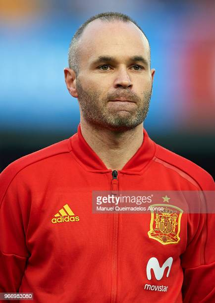 Andres Iniesta of Spain looks on prior to the International Friendly match between Spain and Switzerland at Estadio de La Ceramica on June 3 2018 in...