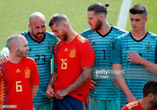 Andres Iniesta of Spain Pepe Reina of Spain Sergio Ramos of Spain David De Gea of Spain and Kepa of Spain look on during a training session on June 6...