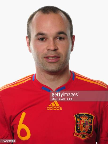 Andres Iniesta of Spain poses during the official Fifa World Cup 2010 portrait session on June 13 2010 in Potchefstroom South Africa