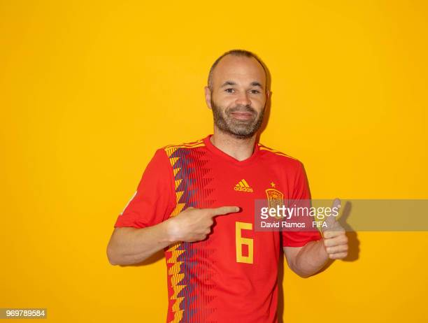 Andres Iniesta of Spain poses during the official FIFA World Cup 2018 portrait session at FC Krasnodar Academy on June 8 2018 in Krasnodar Russia