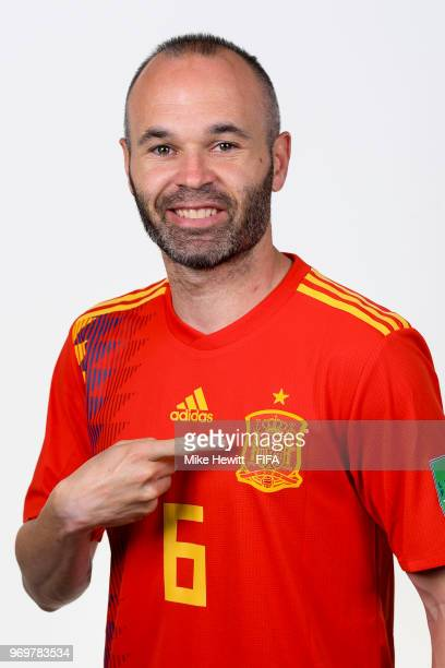 Andres Iniesta of Spain poses for a portrait during the official FIFA World Cup 2018 portrait session at FC Krasnodar Academy on June 8 2018 in...