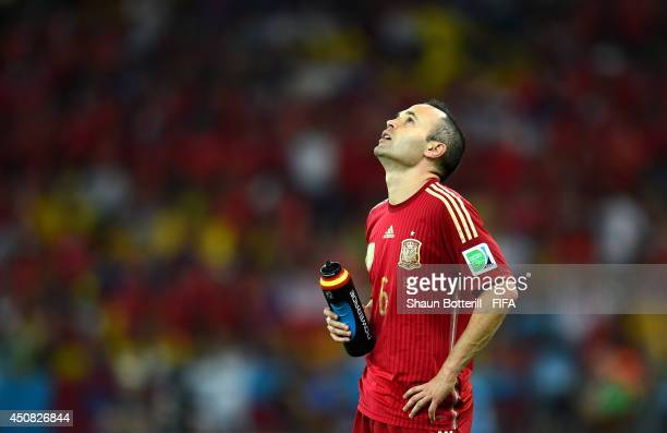 Andres Iniesta of Spain reacts during the 2014 FIFA World Cup Brazil Group B match between Spain and Chile at Estadio Maracana on June 18 2014 in Rio...