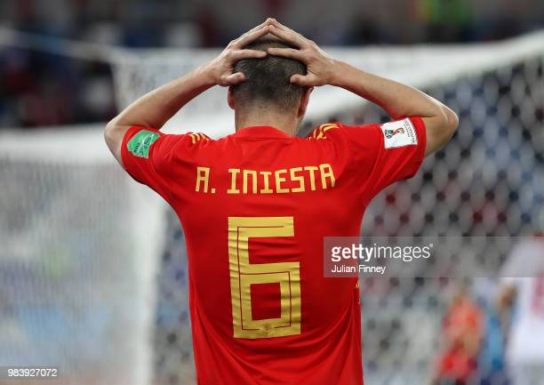 Andres Iniesta of Spain reacts during the 2018 FIFA World Cup Russia group B match between Spain and Morocco at Kaliningrad Stadium on June 25 2018...