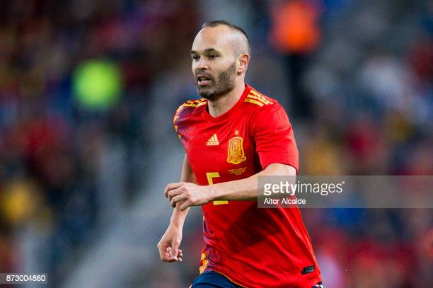 Andres Iniesta of Spain reacts during the international friendly match between Spain and Costa Rica at La Rosaleda Stadium on November 11 2017 in...