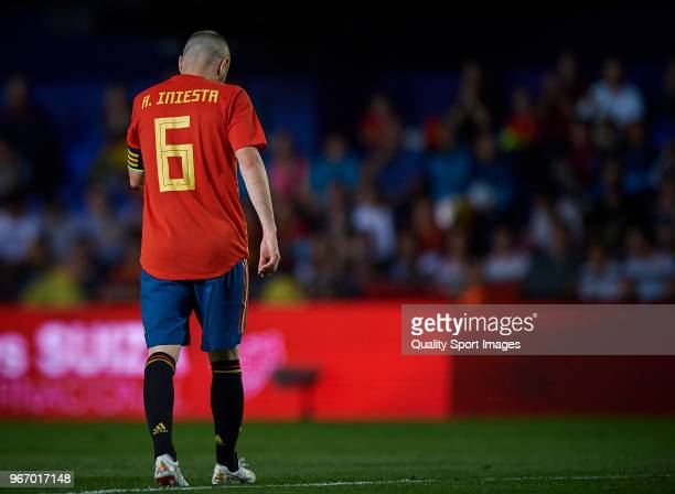 Andres Iniesta of Spain reacts during the International Friendly match between Spain and Switzerland at Estadio de la Ceramica on June 3 2018 in...