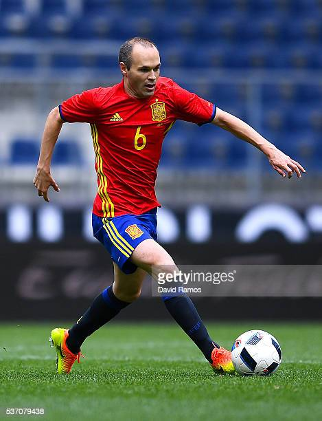 Andres Iniesta of Spain runs with the ball during an international friendly match between Spain and Korea at the Red Bull Arena stadium on June 1...