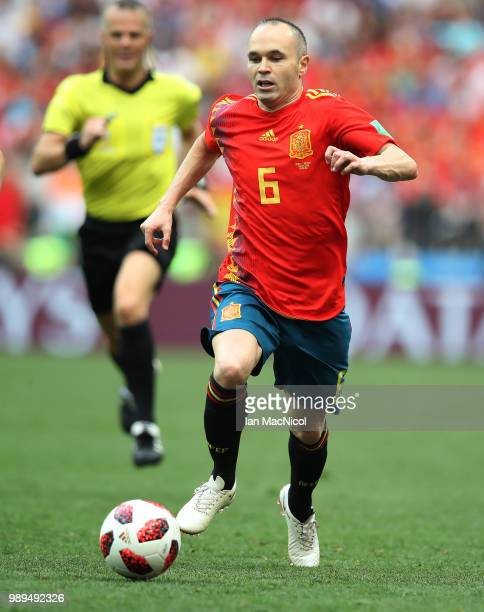Andres Iniesta of Spain runs with the ball during the 2018 FIFA World Cup Russia Round of 16 match between Spain and Russia at Luzhniki Stadium on...