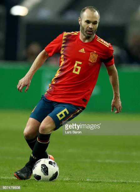 Andres Iniesta of Spain runs with the ball during the International Friendly match between Germany and Spain at EspritArena on March 23 2018 in...