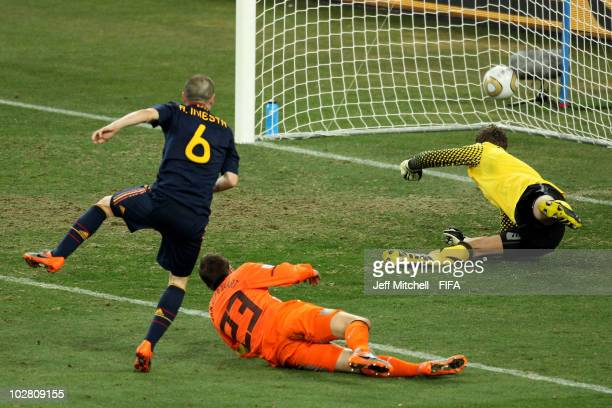 Andres Iniesta of Spain scores during the 2010 FIFA World Cup South Africa Final match between Netherlands and Spain at Soccer City Stadium on July...