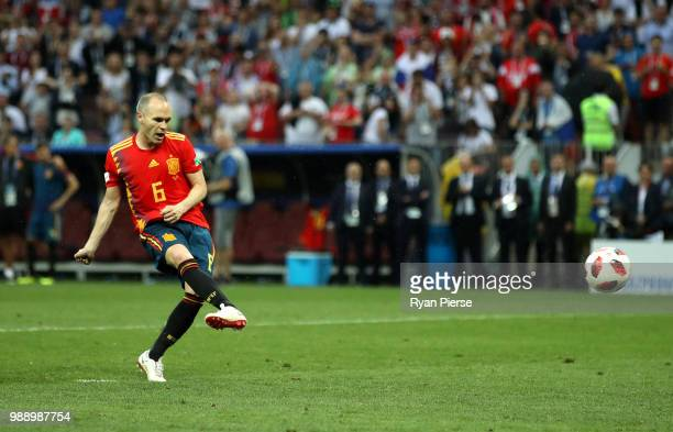 Andres Iniesta of Spain scores his team's first penalty in the penalty shoot out during the 2018 FIFA World Cup Russia Round of 16 match between...