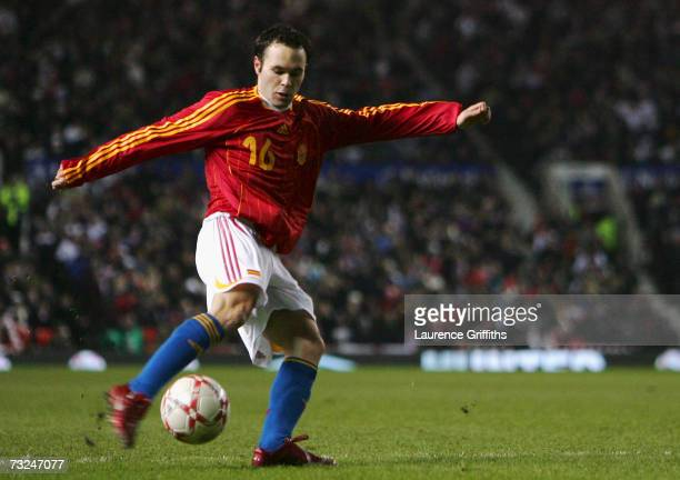 Andres Iniesta of Spain scores the opening goal during the International Friendly match between England and Spain at Old Trafford on February 7 2007...