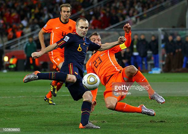 Andres Iniesta of Spain scores the winning goal during the 2010 FIFA World Cup South Africa Final match between Netherlands and Spain at Soccer City...