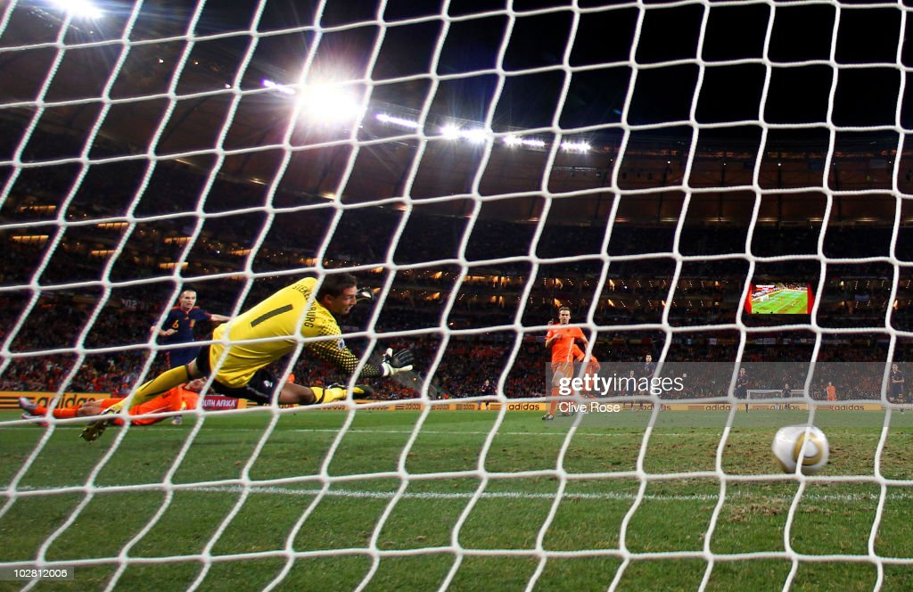 Andres Iniesta of Spain scores the winning goal past Maarten Stekelenburg of the Netherlands during the 2010 FIFA World Cup South Africa Final match between Netherlands and Spain at Soccer City Stadium on July 11, 2010 in Johannesburg, South Africa.