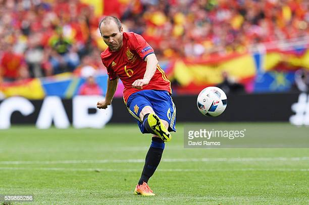 Andres Iniesta of Spain shoots at goal during the UEFA EURO 2016 Group D match between Spain and Czech Republic at Stadium Municipal on June 13 2016...
