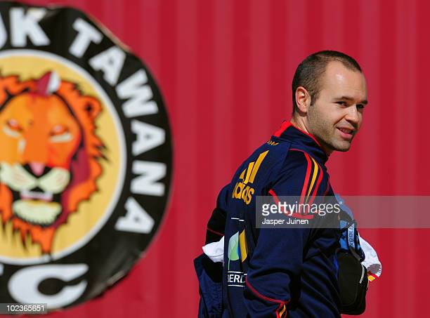 Andres Iniesta of Spain smiles after attending a training session on June 24 2010 in Potchefstroom South Africa